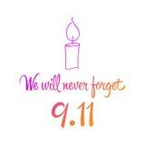 Patriot day, simple memorial design  illustration 11 september. Royalty Free Stock Photo