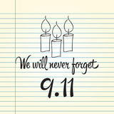 Patriot day, simple memorial design  illustration 11 september. Stock Images