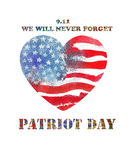 Patriot Day the 11th of september. Watercolor heart shaped ameri Royalty Free Stock Photos