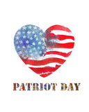 Patriot Day the 11th of september. Watercolor heart shaped ameri Stock Photography