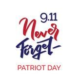 Patriot day typographic emblem. 9-11, Never Forget stock illustration
