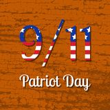 Patriot Day in the United States. 11 September. Text with USA flag image. Wood texture background. Patriot Day in the United States. 11 September. Concept of the Vector Illustration
