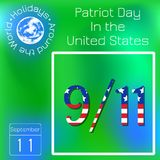 Patriot Day in the United States. 11 September. Text with USA flag image. Series calendar. Holidays Around the World. Event of eac. Patriot Day in the United Stock Illustration