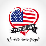 Patriot day USA heart emblem colored. Patriot day vector card with heart in national flag colors. September 11, We will never forget vector illustration