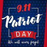 9/11, Patriot day USA Never forget lettering poster. Patriot Day, September 11, We will never forget on blue stars background stock illustration