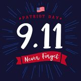 9/11, Patriot day USA Never forget lettering poster. Patriot Day, September 11, We will never forget on blue stars background vector illustration