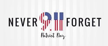 Patriot day USA Never forget 9.11, vector banner. Patriot Day, September 11, We will never forget vector poster or banner vector illustration