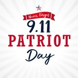 Patriot day USA, Never forget 9.11 vector card. Patriot Day, September 11, We will never forget lettering for poster or banner vector illustration