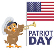 Patriot Day USA. Owl bugler in white cap plays horn Royalty Free Stock Images