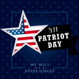 Patriot day USA We Will Never Forget star banner. 9/11 Patriot Day background, American Flag on star shape background. September 11, 2001 poster template vector stock illustration