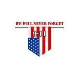 Patriot day usa, we will never forget vector logo Royalty Free Stock Images
