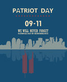 Patriot day vector poster with mirror reflection. September 11. 9 / 11 with twin towers. Patriot day vector poster with mirror reflection. September 11. 9 / 11 Royalty Free Stock Photography