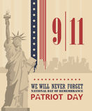 Patriot day vector poster. September 11. 9 / 11. Banner Stock Photography