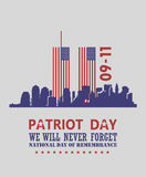 Patriot day vector poster. USA memorial. September 11. 9 / 11 with twin towers. Patriot day vector poster. USA memorial. September 11. 9 / 11 banner Royalty Free Stock Images