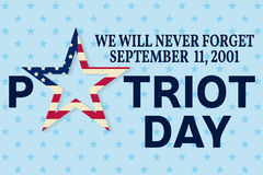 Patriot Day vintage design. We will never forget september 11, 2001. Patriotic banner or poster. Vector illustration for Patriot Day Stock Photos