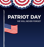 Patriot day, We Will Never Forge web banner Royalty Free Stock Photos