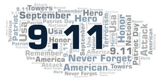 9.11 Patriot Day word cloud. 9 11 Patriot Day word cloud. Wordcloud made with text only Stock Illustration