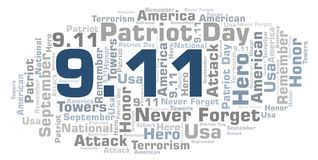 9.11 Patriot Day word cloud. 9 11 Patriot Day word cloud. Wordcloud made with text only Royalty Free Illustration