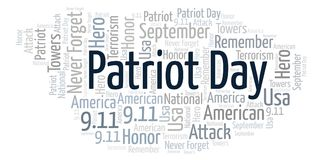 Patriot Day word cloud. Wordcloud made with text only Stock Illustration