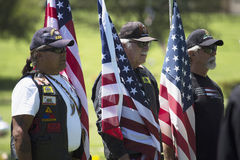 Patriot Guard Motorcyclists honor fallen US Soldier, PFC Zach Suarez, Honor Mission on Highway 23, drive to Memorial Service, West Royalty Free Stock Image
