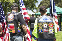 Patriot Guard Motorcyclists honor fallen US Soldier, PFC Zach Suarez, Honor Mission on Highway 23, drive to Memorial Service, West Stock Photos