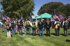Patriot Guard Motorcyclists honor fallen US Soldier, PFC Zach Suarez, Honor Mission on Highway 23, drive to Memorial Service, West Royalty Free Stock Images