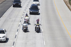 Patriot Guard Motorcyclists honoring fallen US Soldier, PFC Zach Suarez, Honor Mission on Highway 23, drive to Memorial Service, W Stock Images