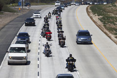 Patriot Guard Motorcyclists honoring fallen US Soldier, PFC Zach Suarez, Honor Mission on Highway 23, drive to Memorial Service, W Stock Photo
