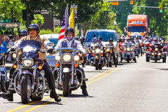 Patriot Guard and Rolling Thunder Motorcycle Riders in PArade. Part of over 1,000 Patriot Guard and Rolling Thunder motorcycle riders ride in a parade to welcome royalty free stock photos