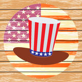 Patriot in a hat and with a flag. Fourth of July. Royalty Free Stock Images
