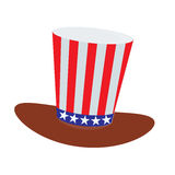 Patriot in a hat and with a flag. Fourth of July. Stock Photography