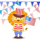 Patriot in a hat and with a flag. Fourth of July. Royalty Free Stock Photos