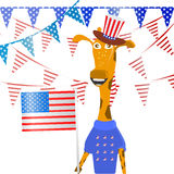 Patriot in a hat and with a flag. Fourth of July. Stock Photo
