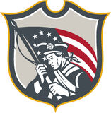 Patriot Holding American Flag Shield Retro Stock Photography