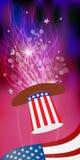 Patriot i en hatt och med en flagga fjärde juli royaltyfri illustrationer