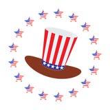 Patriot i en hatt och med en flagga fjärde juli stock illustrationer