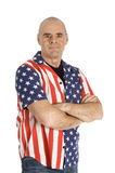 Patriot man wearing a united states blouse. Isolated on white royalty free stock photography