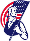 Patriot Minuteman American Flag. Illustration of a patriot minuteman revolutionary soldier holding an American stars and stripes flag on isolated background stock illustration