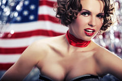 Patriot pin-up woman Royalty Free Stock Photography