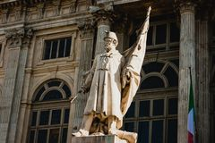 Patriot`s statue in front of Madama Palace, Turin, Italy Stock Images