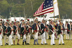 Patriot soldiers march to Surrender Field. As part of the 225th Anniversary of the Victory at Yorktown, a reenactment of the siege of Yorktown, where General Stock Images