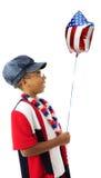 Patriot som är lycklig med hennes ballong Royaltyfri Bild