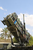 A Patriot  surface-to-air missile system of the Israeli  Air Force. HATZERIM, ISRAEL - MAY 2, 2017: A Patriot  surface-to-air missile system of the Israeli  Air Stock Photos