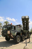 A Patriot  surface-to-air missile system of the Israeli  Air Force. HATZERIM, ISRAEL - MAY 2, 2017: A Patriot  surface-to-air missile system of the Israeli  Air Stock Images