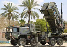 A Patriot  surface-to-air missile system of the Israeli  Air Force. HATZERIM, ISRAEL - MAY 2, 2017: A Patriot  surface-to-air missile system of the Israeli  Air Stock Photography
