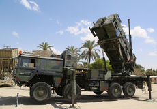 A Patriot  surface-to-air missile system of the Israeli  Air Force. HATZERIM, ISRAEL - MAY 2, 2017: A Patriot  surface-to-air missile system of the Israeli  Air Royalty Free Stock Photo