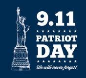Patriot-Tag, am 11. September Freiheitsstatue u lizenzfreie abbildung