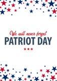 Patriot-Tageshintergrund 11. September Wir vergessen nie Stockbild