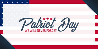 Patriot-Tageshintergrund 11. September Wir vergessen nie lizenzfreie abbildung