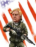 Patriot themed cartoon portrait of Donald Tump - Illustrated by Stock Image